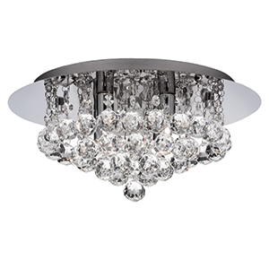 4 Light Chrome Hanna Flush Crystal Ball 3404-4Cc