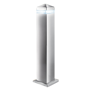 45Cm Satin Silver Square Up Post - 16 Led. Ip44 7202-450