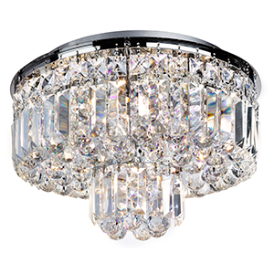 5 Light Chrome Ceiling - Clear Crystal Coffin Trim And Ball Drops 7755-5Cc