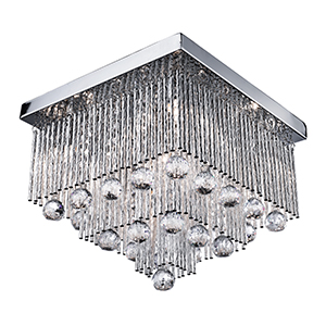 5 Light Chrome Ceiling - Crystal Drops And Aluminimum Twist Tubes 6055-5Cc