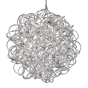 5 Light Chrome Ceiling With Glass Drops And White Fabric String Shades With Chrome Trim 9432
