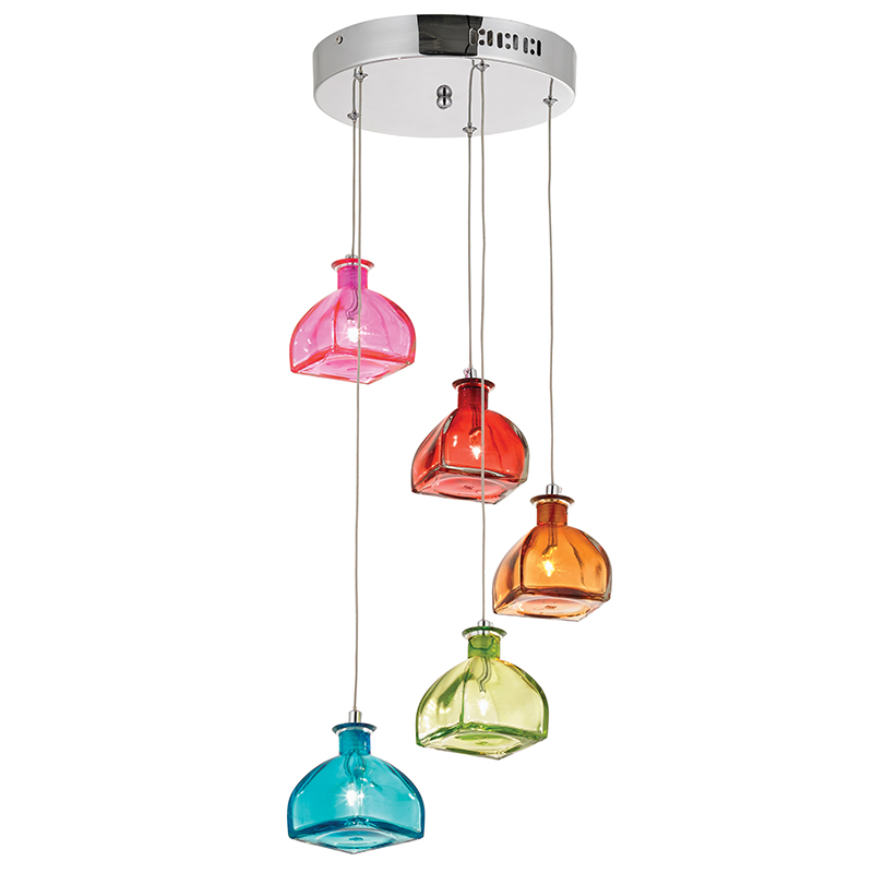 5 LIGHT SPIRAL CEILING FITTING WITH MULTICOLOURED GLASS BXSARANDON-5MULTI-17 (Double Insulated)