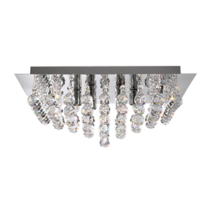 6 Light Chrome Square Flush Fitting Complete With Crystal Balls 6406-6Cc