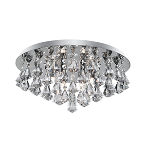 6 Light Hanna Chrome Flush Fitting Complete With Diamond Shape Crystal 3306-6Cc