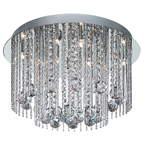 8 Light Chrome Crystal Fitting Complete With Strands And Balls 8088-8Cc