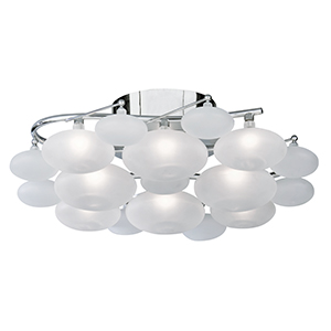 8 Light Chrome Flush White Glass Pebbles (Class 2 Double Insulated) Bx8408-8Cc-17