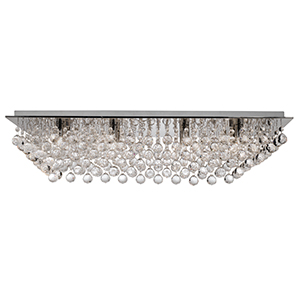 8 Light Chrome Rectangle Flush Complete With Crystal Balls 6728-8Cc