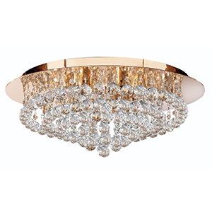 8 Light Gold Flush Hanna Fitting With Clear Crystal Balls 3408-8Go