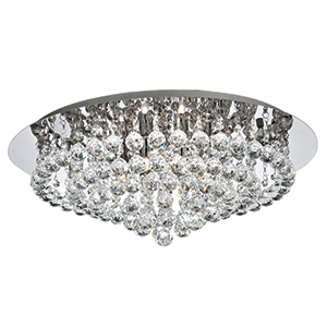8 Light Chrome Hanna Flush Crystal Ball 3408-8Cc