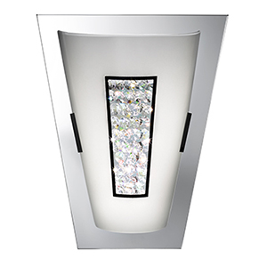 8W Led Wall Light - White Glass Shade With Glass Detail 3773