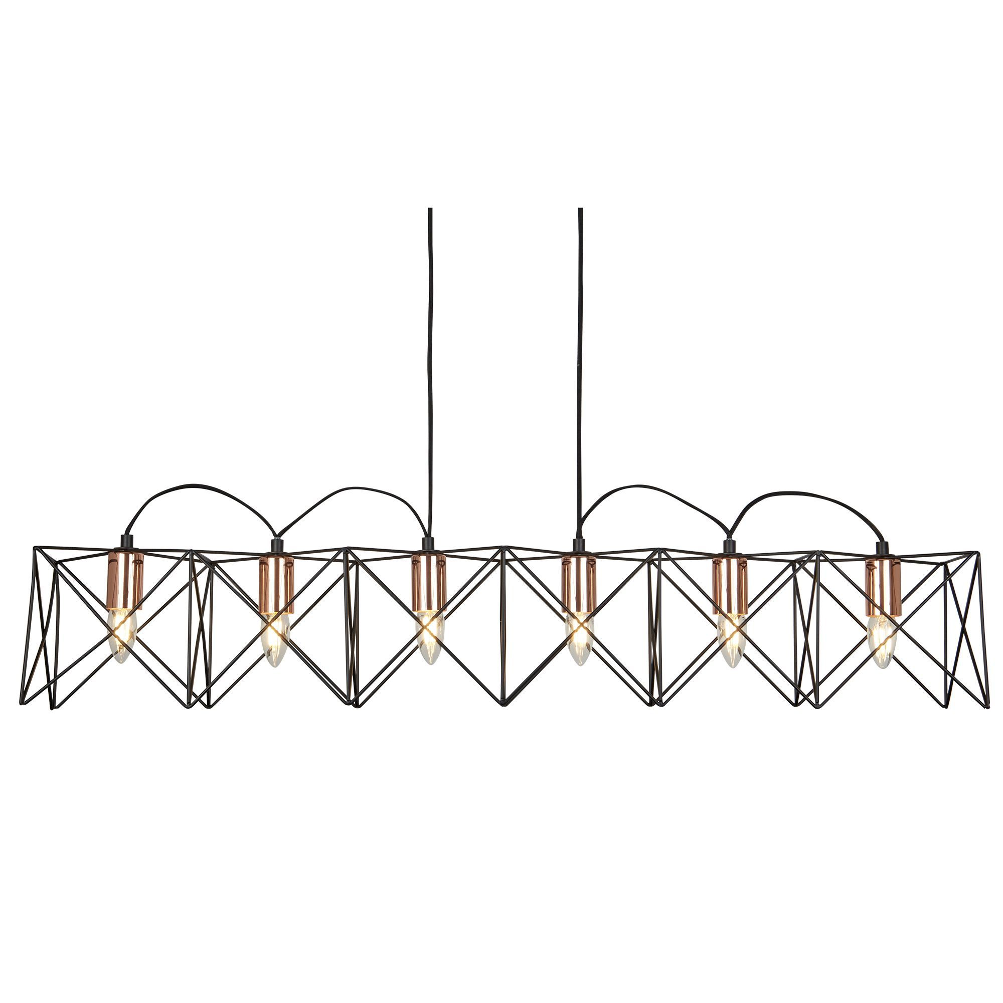 anthena 6 light black frame pendant with copper detail 8416