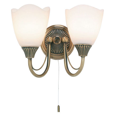 Antique Brass Twin Wall Light 601-2AN