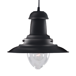 Black Fisherman Pendant Lamp With Clear Glass Shade 4301Bk