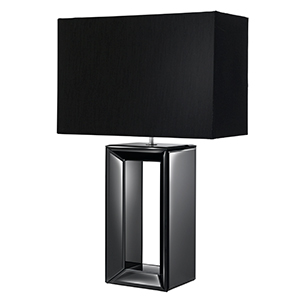 Black Mirror Tall Table Lamp-Black Faux Silk Shade  1610Bk (Class 2 Double Insulated)