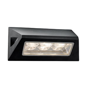 Black Outdoor Wall Light - White Led. Ip44 5513Bk