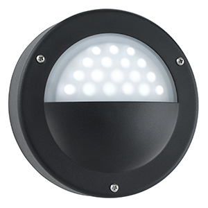 Black Wall Light - White Led. Ip44  (Class 2 Double Insulated) Bx8744Bk-17