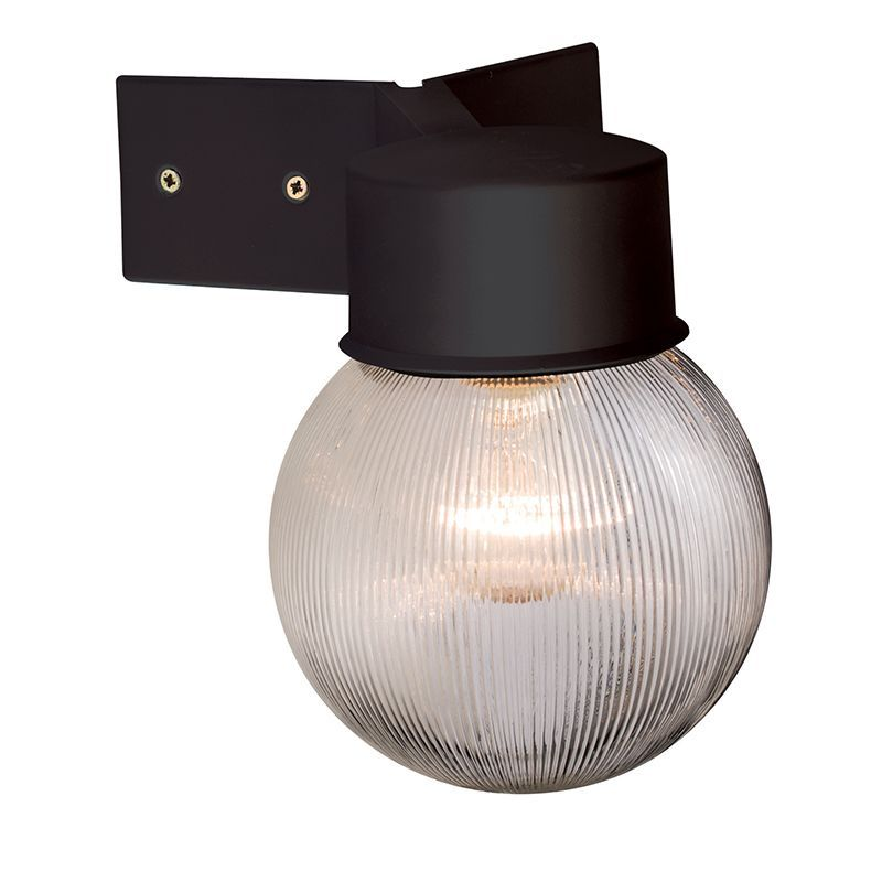 Double Insulated Outdoor Security Lights: Black & Ribbed Clear Polycarbonate Outdoor Wall Light
