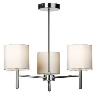 Brio 3 Light Fitting In Chrome With Ivory Faux Silk Shades BRIO-3CH