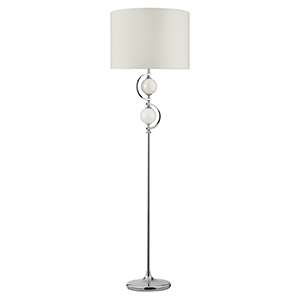 Chrome Floor Lamp With Cream Glass Balls And Drum Shade 2965Wh (Class 2 Double Insulated)