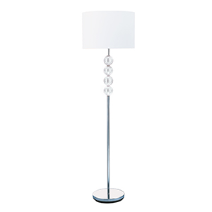 Chrome / Glass Floor Lamp Complete With White Shade 8194Cc (Class 2 Double Insulated)