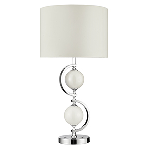 Chrome Table Lamp With Cream Glass Balls And Drum Shade 1965Wh (Class 2 Double Insulated)