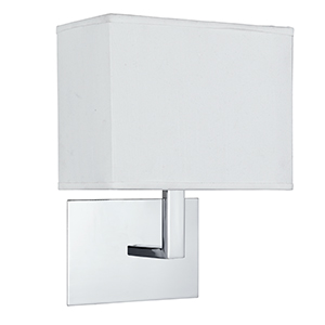 Chrome Wall Bracket Complet With White Rectangular Shade 5519Cc
