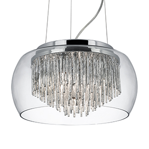 Clear Glass Shade 4 Light Pendant With Aluminium Spiral Tubes 3624-4Cc