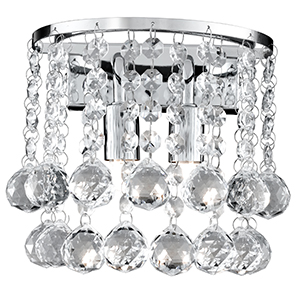 Chrome 2 Light Round Wall Bracket - Clear Crystal Ball 2402-2Cc