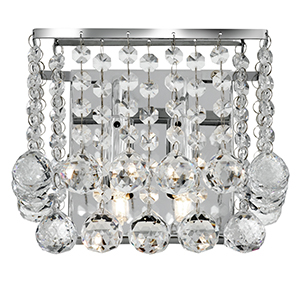 Chrome 2 Light Square Wall Bracket - Clear Crystal Ball 5402-2Cc