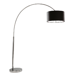Chrome Arc Floor Lamp Black Shade Silver Liner 1013Cc (Class 2 Double Insulated)