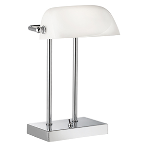 Chrome Bankers Lamp With White Glass Shade 1200Cc (Class 2 Double Insulated)