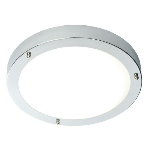 Chrome effect plate frosted glass flush ip44 bathroom light bx59850 17 by endon
