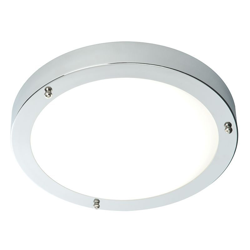Chrome effect plate & frosted glass Flush IP44 Bathroom Light 59850 by Endon