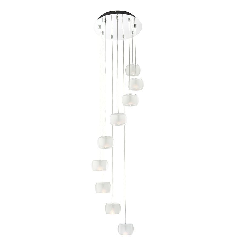 Chrome effect plate & clear crystal (k9) glass with frosted inner Pendant Light 61803 by Endon