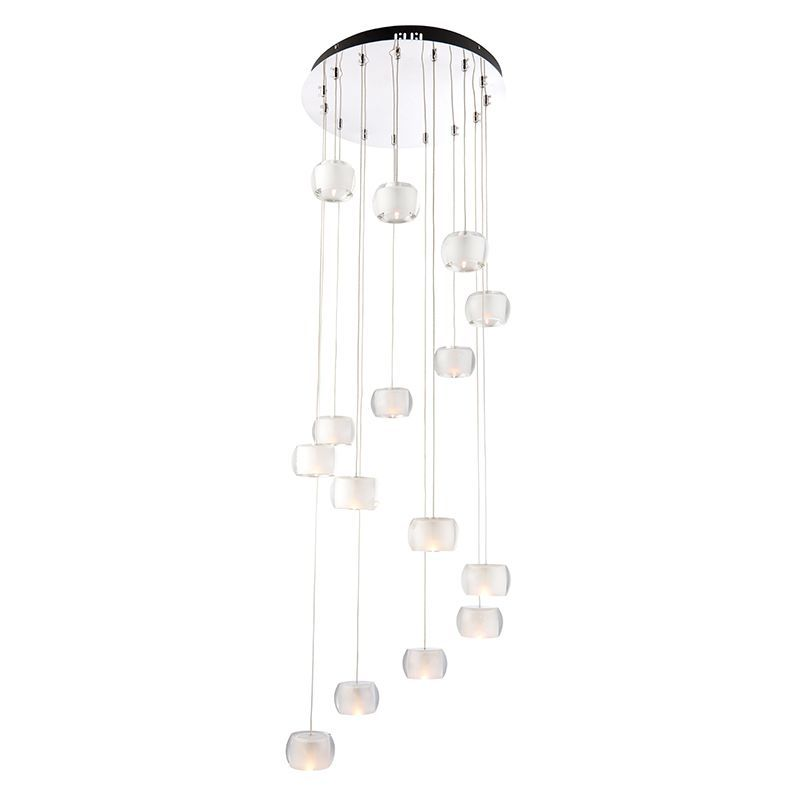 Chrome effect plate & clear crystal (k9) glass with frosted inner Pendant Light 61804 by Endon