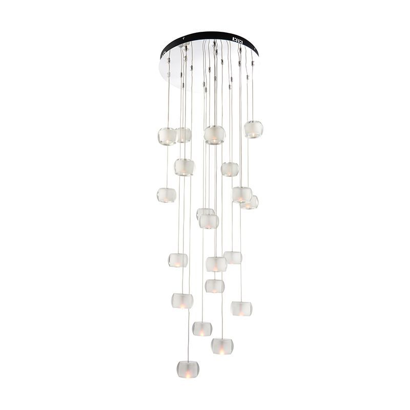 Chrome effect plate & clear crystal (k9) glass with frosted inner Pendant Light 61805 by Endon