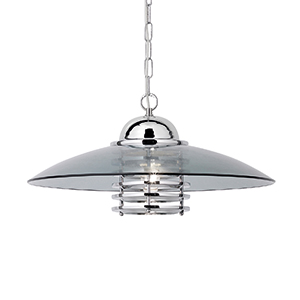 Coolie 1 Light Chrome Pendant With Smokey Glass Shade (Class 2 Double Insulated) Bx1300Cc-17