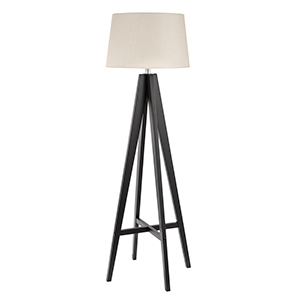 Dark Wood Floor Lamp Complete With Cream Linen Shade And Foot Switch 3540Br (Double Insulated)