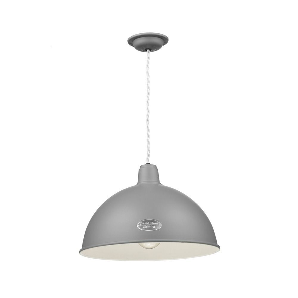 David Hunt Lighting Groucho 1 Light Pendant Lead Grey Gro0139 Hand Made 7 10 Day Delivery