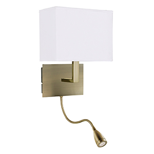 Dual Arm Antique Brass Wall Bracket - Led Flexi Arm 6519Ab