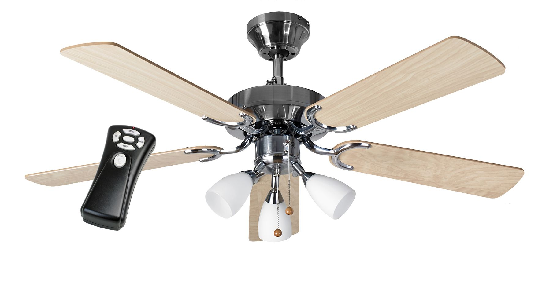 Eurofans New Jersey 42 Stainless Steel Ceiling Fan Light