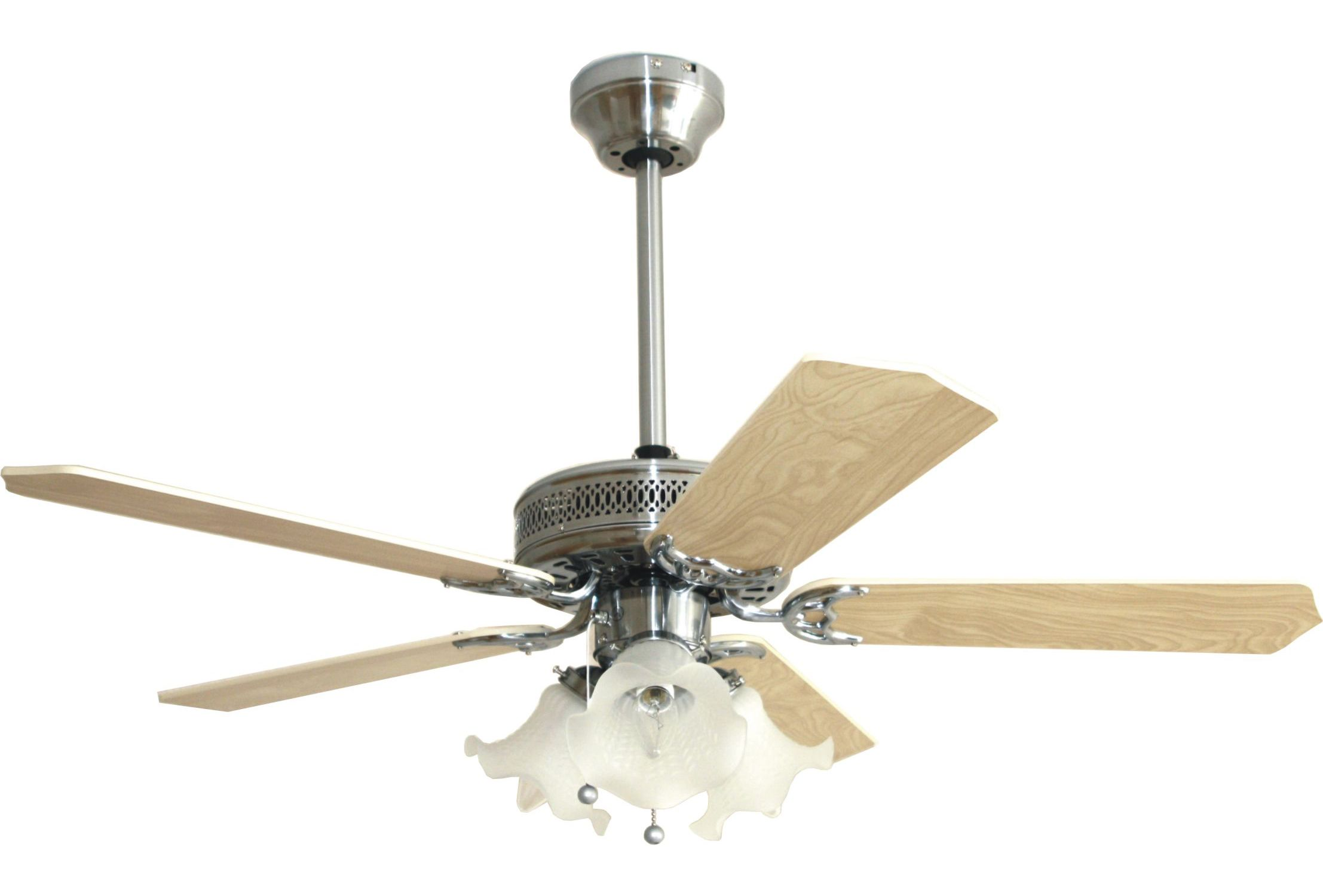 Eurofans Santa Monica 42 Stainless Steel Ceiling Fan Remote Control Light 114413