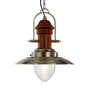 Fishermans 1 Light Pendant In Antique Brass With Dark Wood Finish 3301Ab