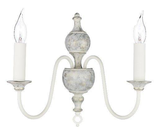 Flemish Hand-Made Wall Light Distressed powder grey / gold FLE0912 (Class 2 Double Insulated)