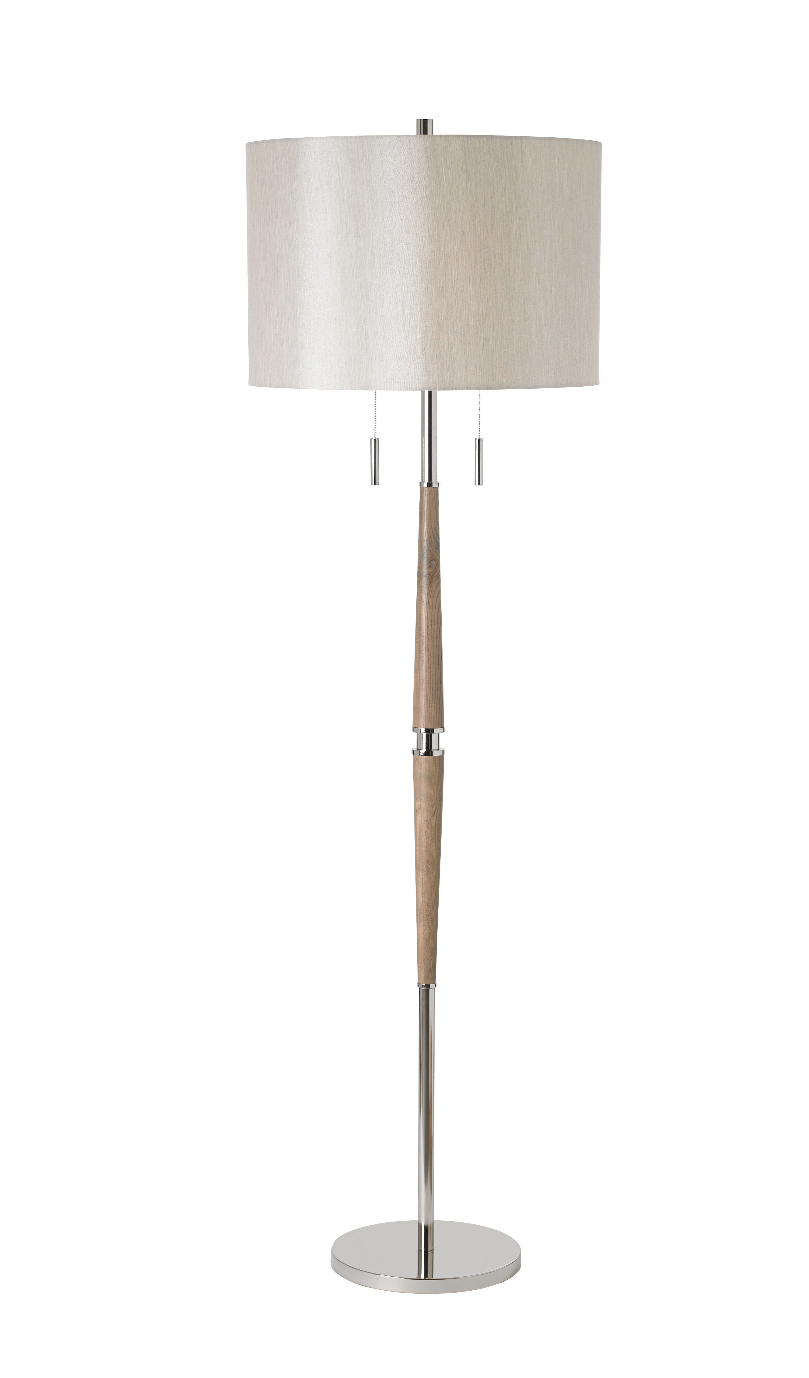 floor lamp in polished nickel and wood with oval shade bxaltesse