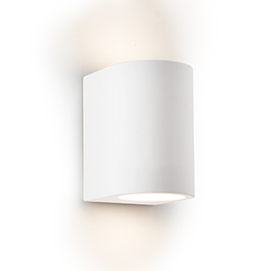 G9 White Curved Cylinder Plaster Wall Light 8436