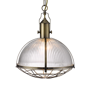 Industrial 1 Light Pendant - Antique Brass And Clear Glass 7601Ab