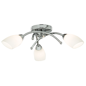Led 3 Light Chrome Flush Fitting With Opal Glass Shades - Ip44 Suitable For Bathrooms 4483-3Cc