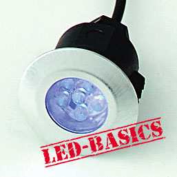 LED-Basics, Outdoor Lighting, Single round deck light kit with transformer, IP65, Blue LED