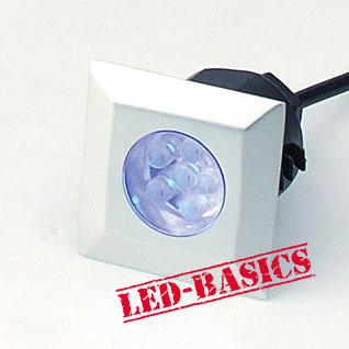 LED-Basics, Outdoor Lighting, Single square deck light kit with transformer, IP65, Blue LED